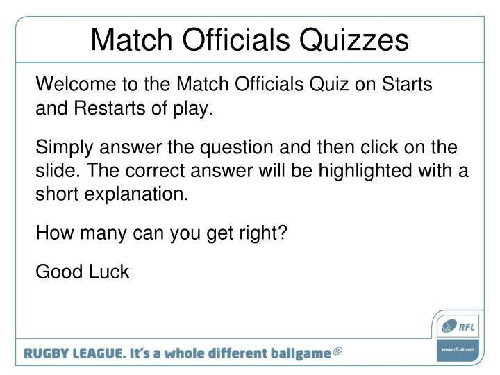 Match Officials Quizzes