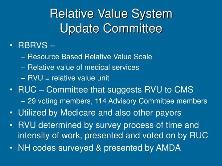Relative value system update committee
