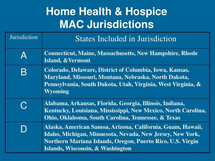 Home Health & Hospice MAC Jurisdictions