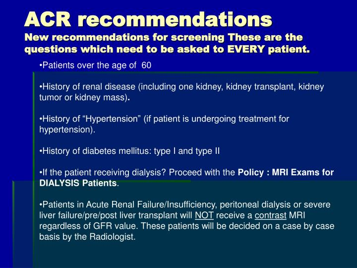 ACR recommendations