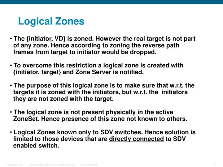 Logical Zones