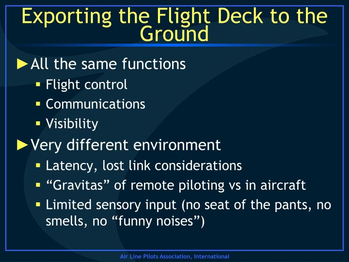 Exporting the Flight Deck to the Ground
