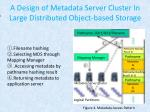 a design of metadata server cluster in large distributed object based storage3