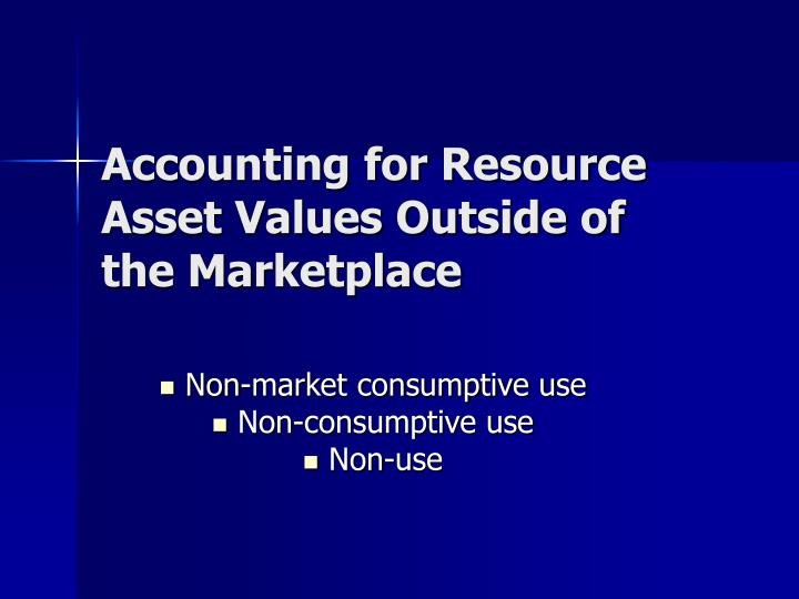 Accounting for Resource Asset Values Outside of the Marketplace