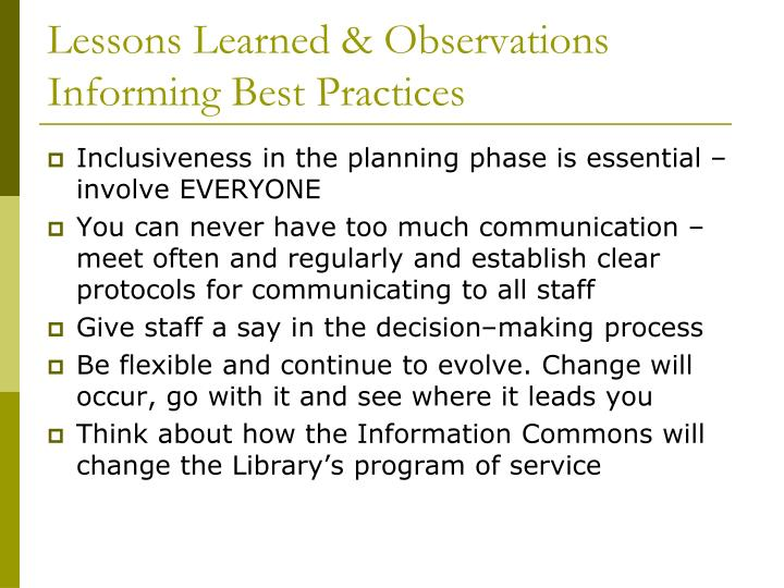 Lessons Learned & Observations Informing Best Practices