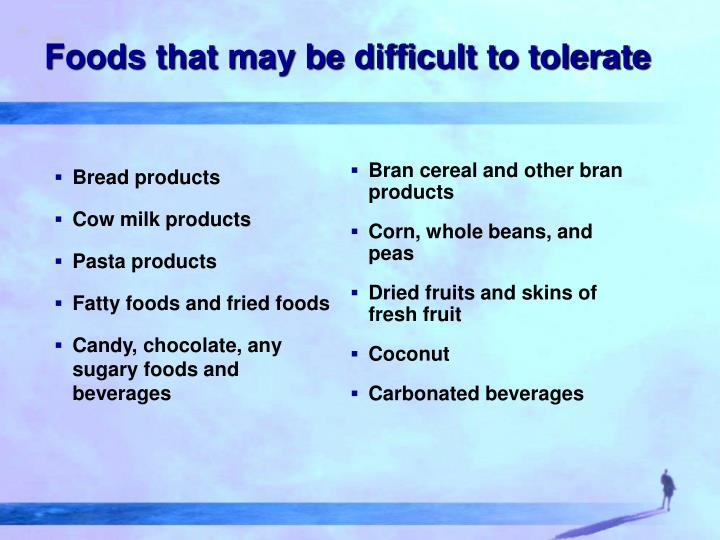Foods that may be difficult to tolerate