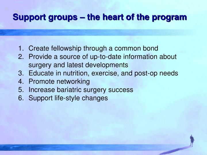 Support groups – the heart of the program
