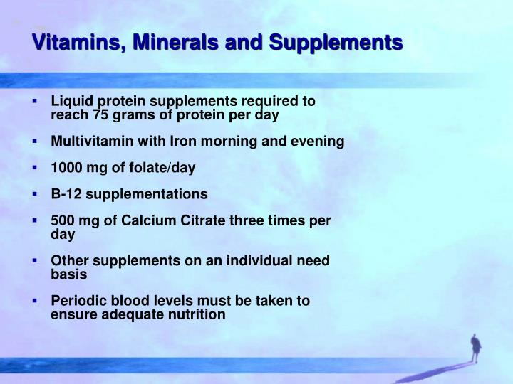 Vitamins, Minerals and Supplements
