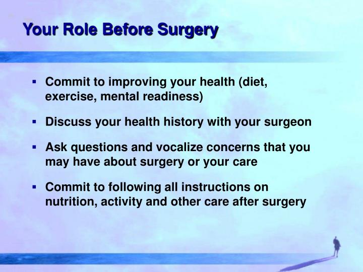 Your Role Before Surgery