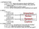 important notes speech outline