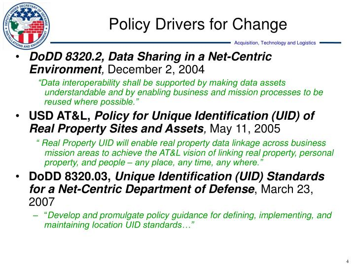 Policy Drivers for Change