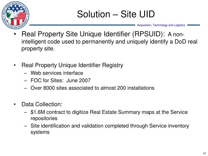 Real Property Site Unique Identifier (RPSUID):