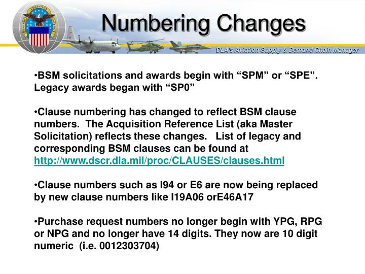 Numbering Changes