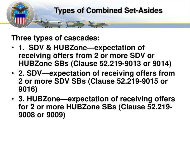 Types of Combined Set-Asides
