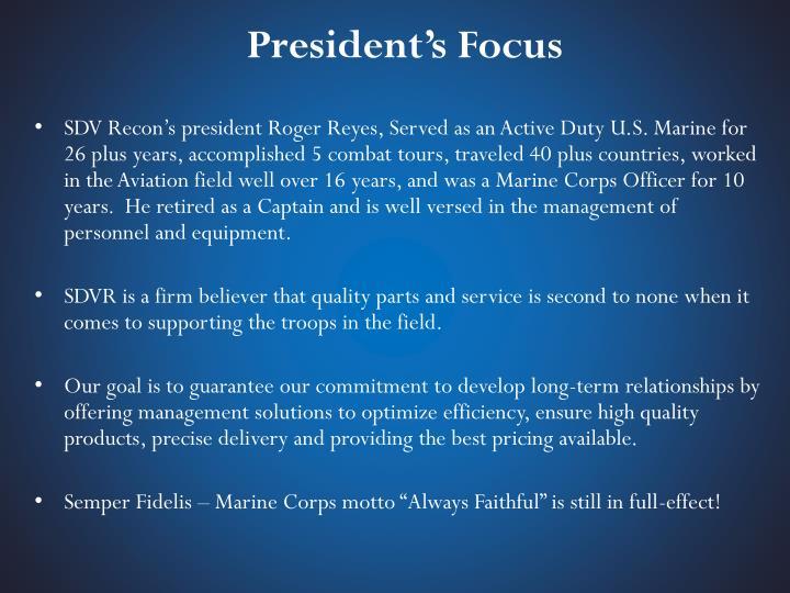 President's Focus