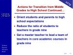 actions for transition from middle grades to high school continued