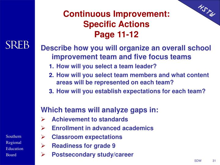Continuous Improvement: Specific Actions