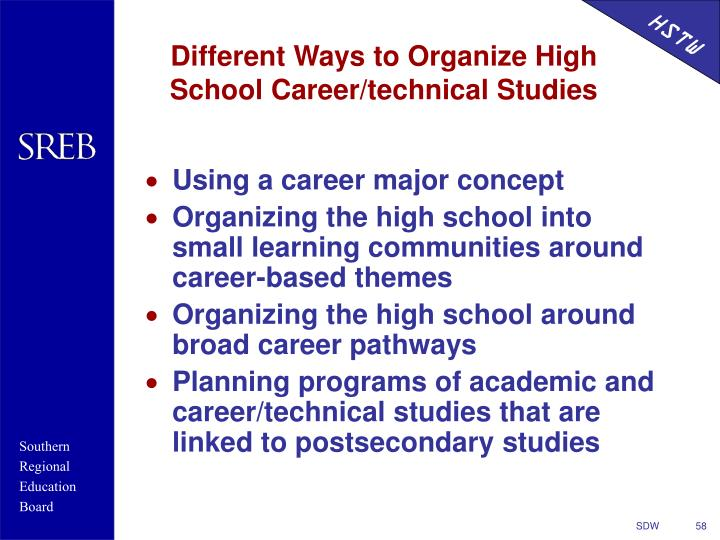 Different Ways to Organize High School Career/technical Studies