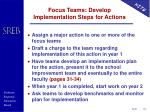 focus teams develop implementation steps for actions