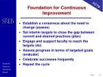 foundation for continuous improvement