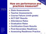 how are performance and practices measured