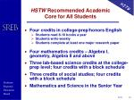 hstw recommended academic core for all students