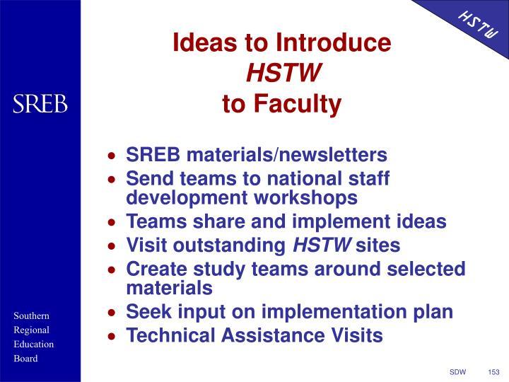 Ideas to Introduce