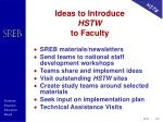 ideas to introduce hstw to faculty