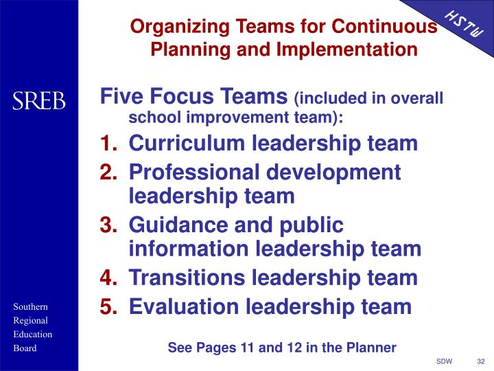Organizing Teams for Continuous Planning and Implementation