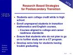 research based strategies for postsecondary transition