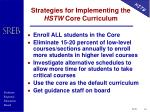 strategies for implementing the hstw core curriculum