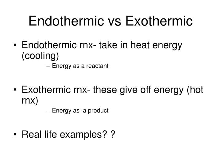 Endothermic vs Exothermic
