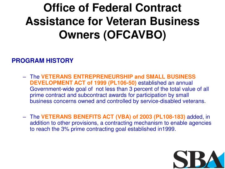 Office of Federal Contract Assistance for Veteran Business Owners (OFCAVBO)