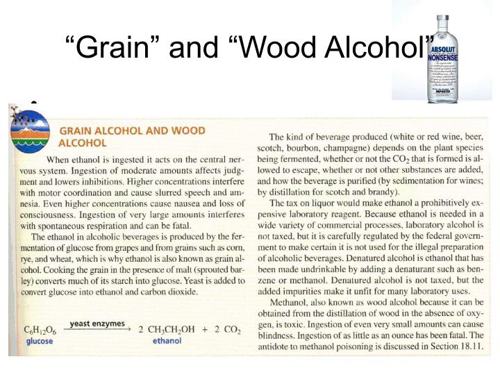 """Grain"" and ""Wood Alcohol"""
