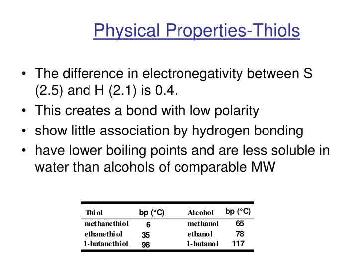 Physical Properties-Thiols
