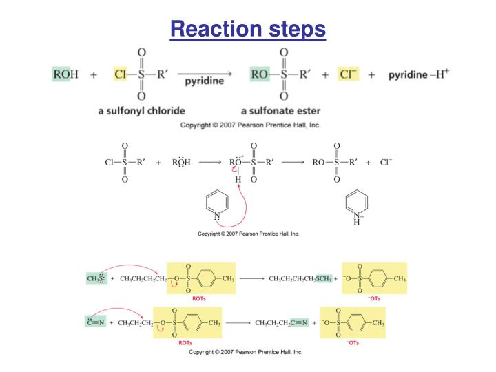 Reaction steps