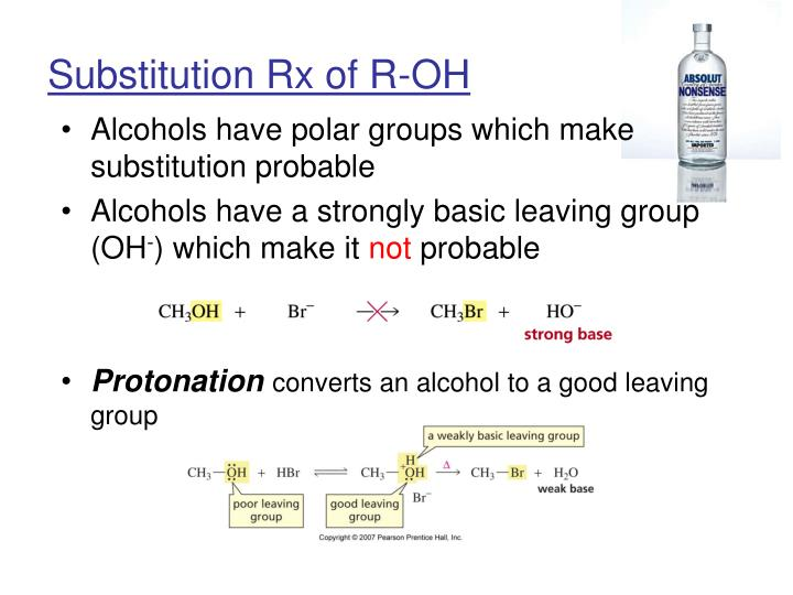 Substitution Rx of R-OH