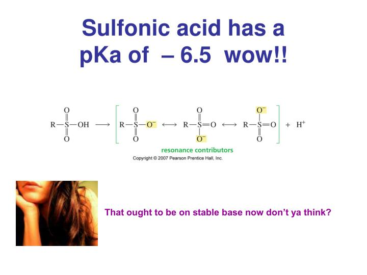 Sulfonic acid has a