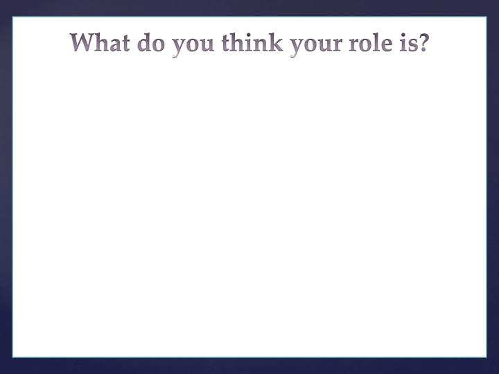 What do you think your role is?