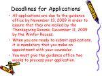 deadlines for applications