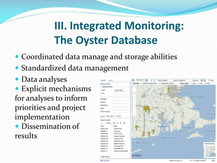 III. Integrated Monitoring: The Oyster Database