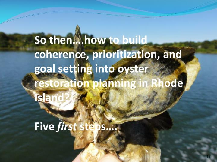 So then….how to build coherence, prioritization, and goal setting into oyster restoration planning in Rhode Island?