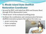 v rhode island state shellfish restoration coordinator