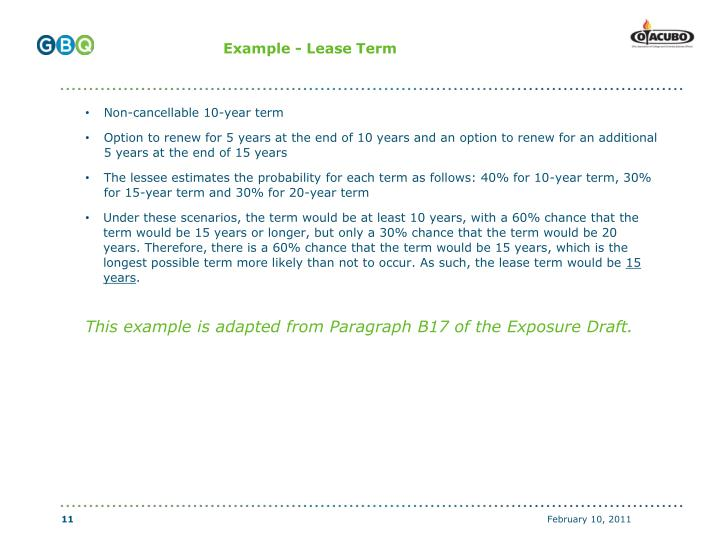 Example - Lease Term