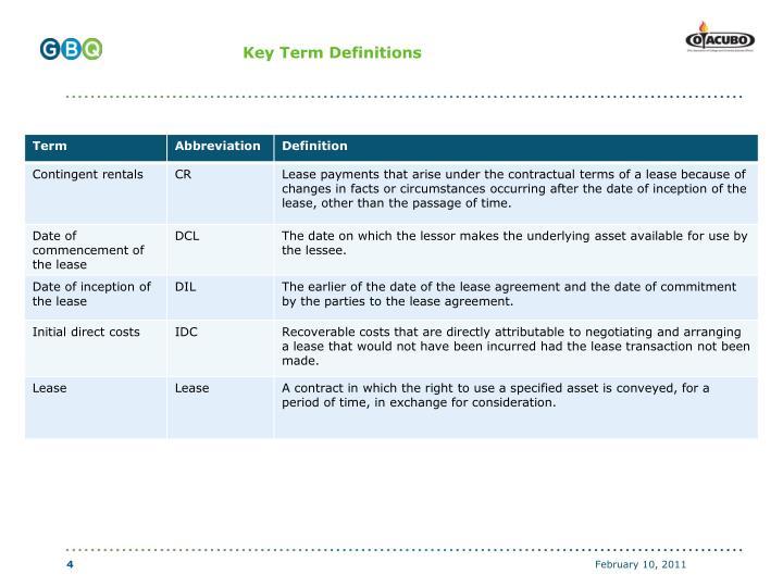 Key Term Definitions