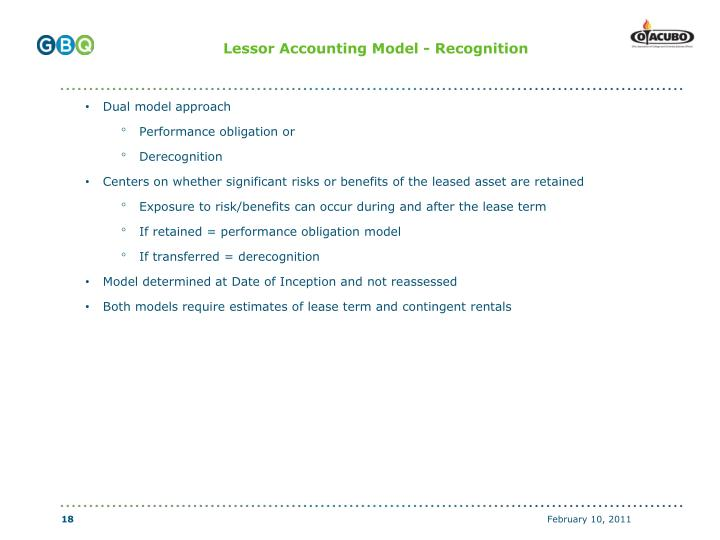 Lessor Accounting Model - Recognition
