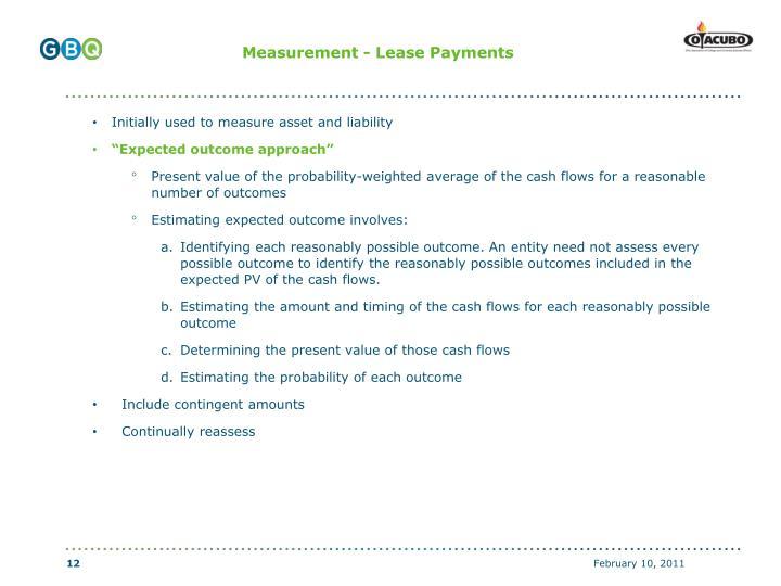 Measurement - Lease Payments
