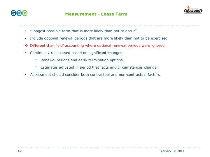 Measurement - Lease Term
