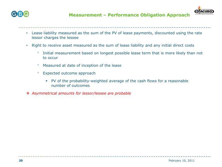 Measurement – Performance Obligation Approach