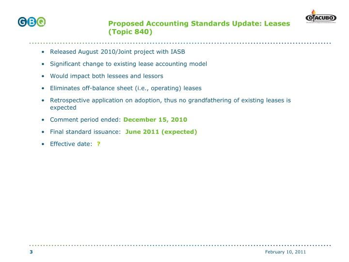 Proposed Accounting Standards Update: Leases